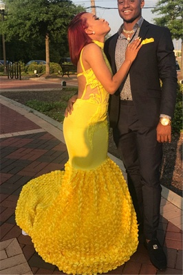 Yellow Halter Backless Sleeveless Lace Applique Elegant Trumpt Evening Dress UKes UK_2