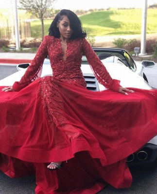 Sexy Lace Appliques Long Sleeves Prom Dress UKes UK Red Keyhole Falbala Evening Dress UKes UK With Beads_2