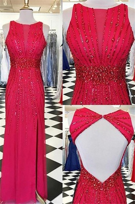 Sexy Red Jewel Side Slit Prom Dress UKes UK Open Back Sleeveless Evening Dress UKes UK with Beads_1