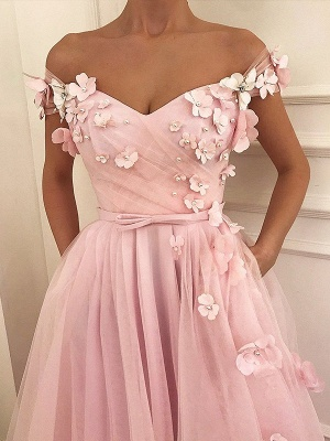Pink Flower Off-the-Shoulder Prom Dress UKes UK Sleeveless Beads Elegant Evening Dress UKes UK with Sash_1