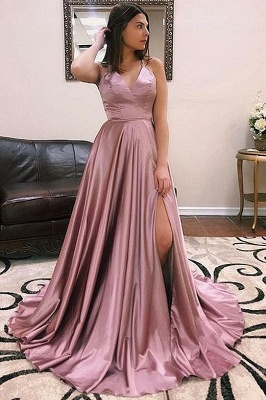 A-line Alluring V-Neck without Sleeve Front Slit Long Prom Dress UK UKes UK_3