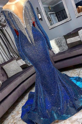 Luxurious Sequins Long Sleeves Elegant Mermaid Sheer Neckline Prom Dress UK UKes UK_3
