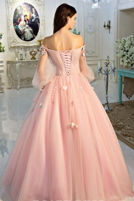 Sexy Flower Off-The-Shoulder Lace Appliques Prom Dress UKes UK Lace-Up Ball Gown Longsleeves Evening Dress UKes UK_3