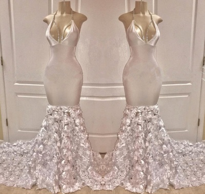 Amazing Halter Deep Alluring V-Neck Flower Elegant Mermaid Prom Dress UK UKes UK_2