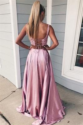 Pink Scoop Lace Up Two Piece Prom Dress UKes UK Sleeveless Side Slit Evening Dress UKes UK with Pocket_2
