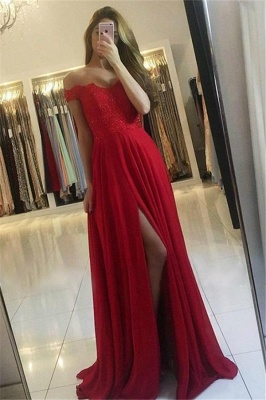 Off-the-Shoulder Lace Appliques Prom Dress UKes UK Side Slit Sleeveless Evening Dress UKes UK with Beads_1
