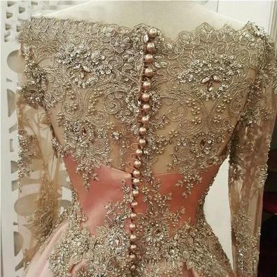 Sexy Lace Appliques Crystal Jewel Prom Dress UKes UK Side slit Longsleeves Evening Dress UKes UK with Beads_2
