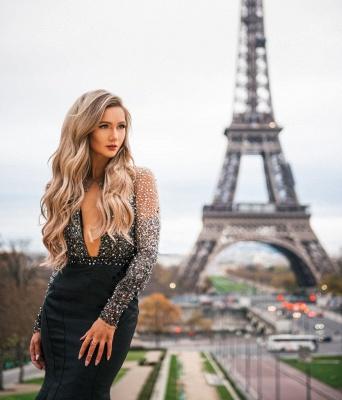 Amazing Black Sheer-Tulle Lace Appliques with Sleeves Elegant Mermaid Prom Dress UK UK_5