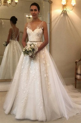 Elegant Sheer Cheap Straps Applique Wedding Dresses UK Sleeveless Floral Bridal Gowns with ribbons