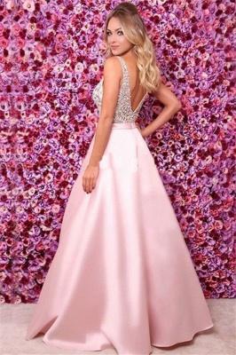 Pink Elegant V-Neck Sequins Ruffles Prom Dress UKes UK Open Back Sleeveless Evening Dress UKes UK_2