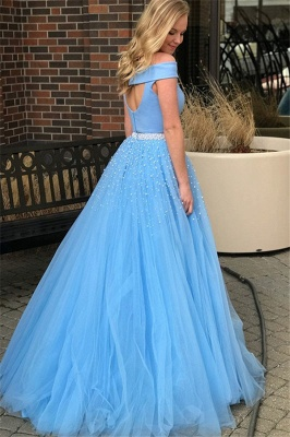 Sexy Blue Off -the-Shoulder Keyhole Prom Dress UKes UK Two Piece Crystal Elegant Evening Dress UKes UK with Beads_3