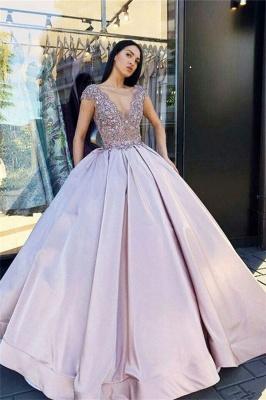 Alluring V-Neck without Sleeve Crystal Beading Ball-Gown Prom Dress UK UKes UK_3
