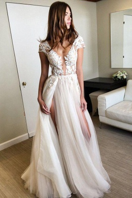 Elegant V-Neck Lace Appliques Prom Dress UKes UK Sheer Sleeveless Evening Dress UKes UK_5