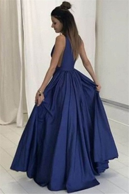Elegant V-Neck Sleeveless Prom Dress UKes UK Ruffles Sexy Evening Dress UKes UK with Pocket_2