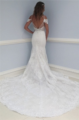 Lace V-Neck Wedding Dresses UK | Ruffles Sheer Cap Sleeve Floral Bridal Gowns_2