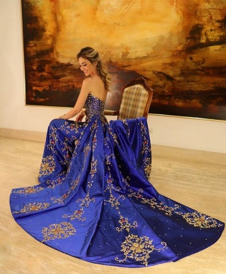 Amazing Strapless Applique without Sleeve A-Line Long Prom Dress UK UK_2