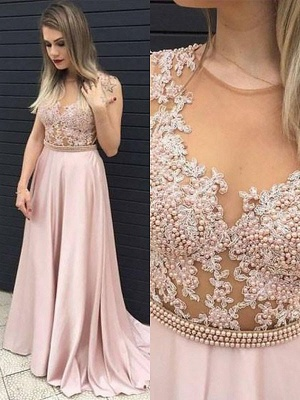 Jewel Beads Lace Appliques Prom Dress UKes UK Pink Sleeveless Tulle Evening Dress UKes UK Sexy_2