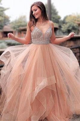 Romactic Pink Spaghetti Strap Crystal Prom Dress UKes UK Sleeveless Tulle Elegant Evening Dress UKes UK Sexy_1