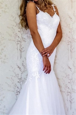 Appliques Straps Wedding Dresses UK | Backless Longsleeves Floral Bridal Gowns_2