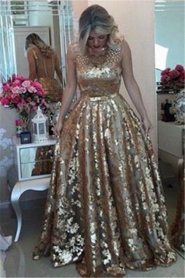 Luxury Gold Straps Beaded Sequins Sleeveless Prom Dress UK_3