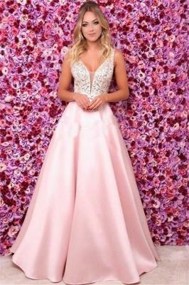 Pink Elegant V-Neck Sequins Ruffles Prom Dress UKes UK Open Back Sleeveless Evening Dress UKes UK_1