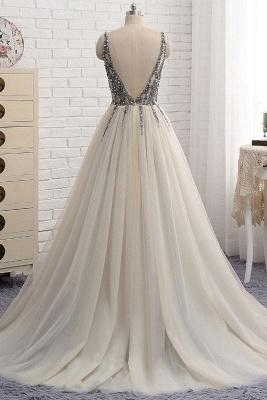 Sexy Elegant V-Neck Crystal Lace Appliques Prom Dress UKes UK Side slit Backless Sleeveless Evening Dress UKes UK_2