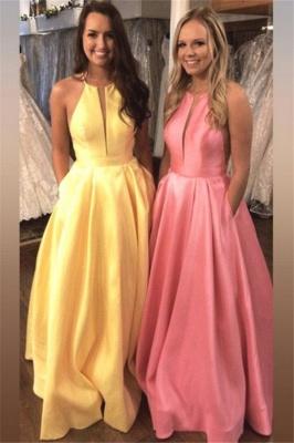 Sexy Halter Ruffles Prom Dress UKes UK Sleeveless Elegant Evening Dress UKes UK with Pocket Sexy_1