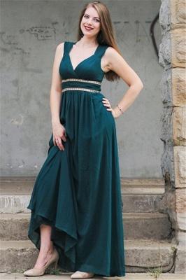 Sexy Elegant V-Neck Open Back Prom Dress UKes UK Sleeveless Elegant Evening Dress UKes UK with Sash_1