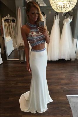 Halter Crystal Two Piece Prom Dress UKes UK Mermaid Sleeveless Elegant Evening Dress UKes UK_1