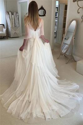 Elegant Applique Tiered Elegant Wedding Dresses UK Sheer Cheap Longsleeves Backless Floral Bridal Gowns_2