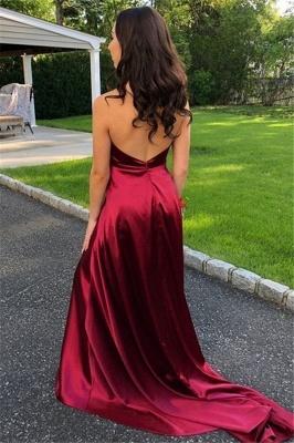 Burgundy Halter Ruffles Sleeveless Prom Dress UKes UK Side Slit Open Back  Evening Dress UKes UK_2