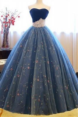 Sweetheart Lace Flower Crystal Prom Dress UKes UK Sleeveless Ball Gown Elegant Evening Dress UKes UK with Beads_2