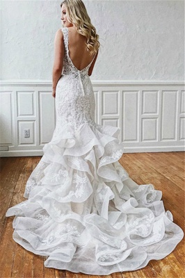 Lace V-Neck  Sexy Mermaid Wedding Dresses UK   Sheer Ruffles Sleeveless Backless Floral Bridal Gowns_2