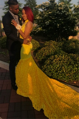 Yellow Halter Backless Sleeveless Lace Applique Elegant Trumpt Evening Dress UKes UK_1