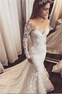 Gorgeous Beads Appliques Off-the-Shoulder Wedding Dresses UK | Ruffles Sheer Longsleeves Floral Bridal Gowns_1