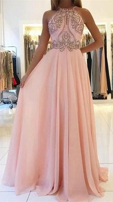 Romactic Pink Halter Applique Prom Dress UKes UK Sleeveless Open Back Elegant Evening Dress UKes UK With Crystal_1