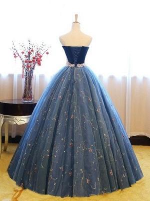 Sweetheart Lace Flower Crystal Prom Dress UKes UK Sleeveless Ball Gown Elegant Evening Dress UKes UK with Beads_3