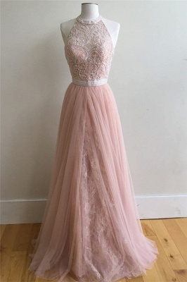 Sexy Lace Appliques Overskirt halter Prom Dress UKes UK Sleeveless Evening Dress UKes UK with Beads_1