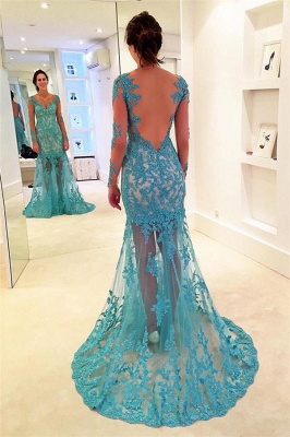 Sexy Lace Appliques Elegant V-Neck Prom Dress UKes UK Bacless Mermaid Longsleeves Evening Dress UKes UK_1