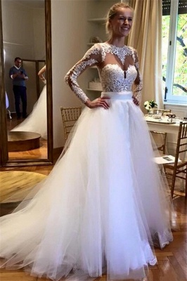 Elegant Applique Jewel Wedding Dresses UK Sheer Cheap Long Sleeves Floral Bridal Gowns_1