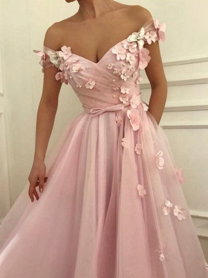 Pink Flower Off-the-Shoulder Prom Dress UKes UK Sleeveless Beads Elegant Evening Dress UKes UK with Sash_3
