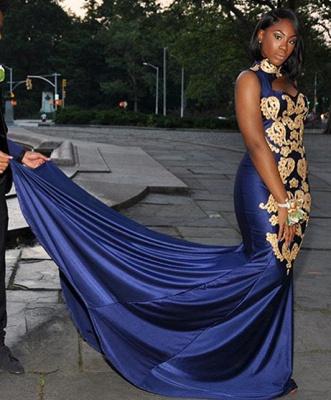 Simple Royal Hign-Neck without Sleeve Applique Elegant Mermaid Prom Dress UK UK_2