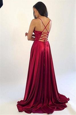 Spaghetti Strap Lace Up Prom Dress UKes UK Side Slit Sleeveless Evening Dress UKes UK_3
