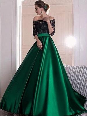 Sexy Black Lace Long Sleeves Prom Dress UKes UK Bateau Elegant Evening Dress UKes UK Sexy_1
