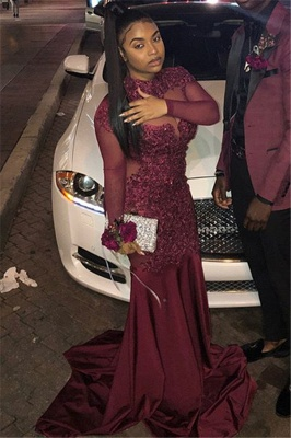Trendy Burgundy Maroon High-Neck with Sleeves Sheer-Tulle Applique Prom Dress UK UK_2