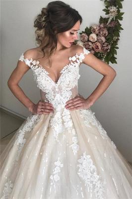 Applique Off-the-Shoulder Wedding Dresses UK Sequins Backless Sleeveless Floral Bridal Gowns_4