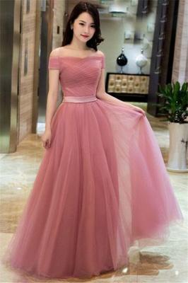 Romactic Pink Off-the-Shoulder Ruffles Prom Dress UKes UK Tulle Sleeveless Elegant Evening Dress UKes UK with Sash_1