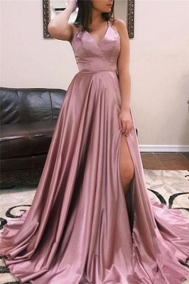A-line Alluring V-Neck without Sleeve Front Slit Long Prom Dress UK UKes UK_5