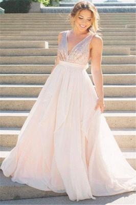 Sexy Elegant V-Neck Sequins Ruffles Prom Dress UKes UK Sleeveless Open Back Elegant Evening Dress UKes UK_1
