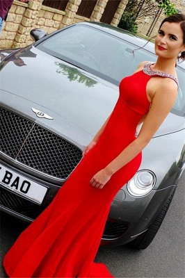 Beads Open Back Red Prom Dress UKes UK Halter Simple Mermaid Evening Dress UKes UK Sexy_2
